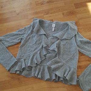 Aqua Cashmere Cropped Ruffle Cardigan M